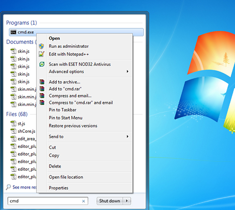 Command Prompt in WINDOWS 7