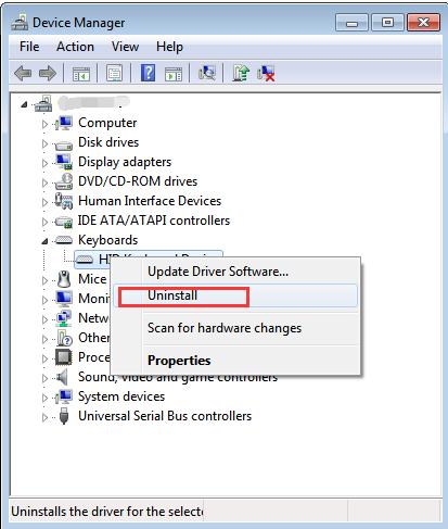 tastatura laptopului nu functioneaza - device manager